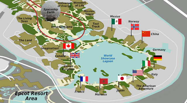 World Showcase Mapa Epcot Orlando