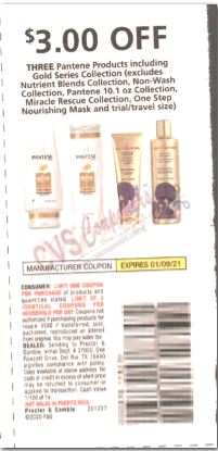 """$3.00/3-Pantene products Coupon from """"P&G"""" insert week of 12/27/20. AND"""