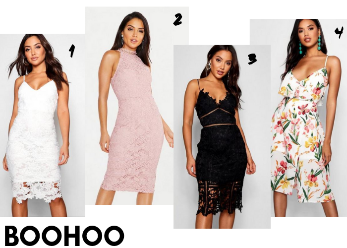 A lookbook of dresses for wearing to graduation, that are available online and cost less than £40... Including dresses from Boohoo, Pretty Little Thing, Nasty Gal and Missguided