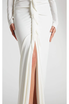 K'Mich Weddings - wedding planning - wedding dress - white crepe ruffle dress with slit - roland mouret