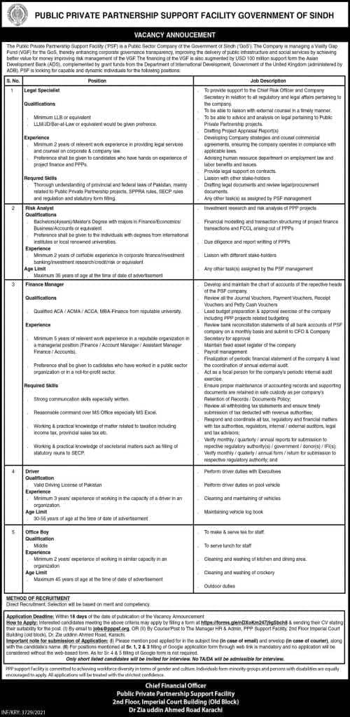 The Public-Private Support Facility (PSF) Job Ad 2021