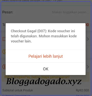 Checkout Gagal D07 kode voucher ini telah digunakan Shopee