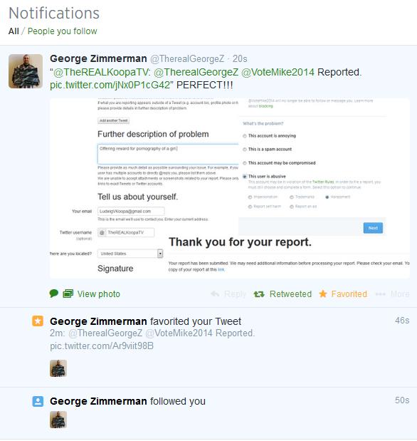 George Zimmerman Follows KoopaTV on Twitter.