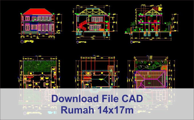 download rumah 14x17 File AutoCad