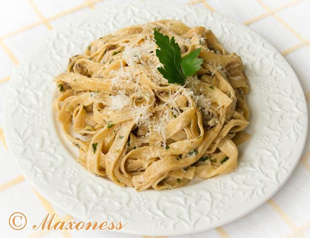 Феттуччини с грибами, марсалой и маскарпоне. Итальянская кухня