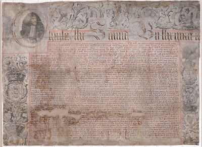 Original Charter of PA: rectangular document with drawing of King Charles II in upper left corner. Other drawings decorate and text of document, all in iron gall ink.