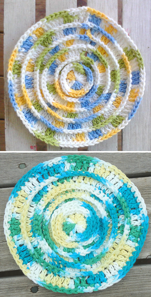Round N Ridgy Dishcloth - Free Pattern