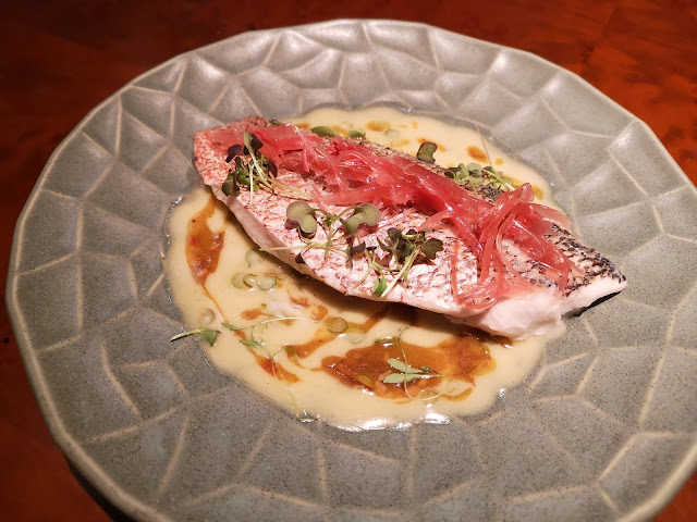 Red Snapper Fillet, Housemade XO, Garlic Shoots Beurre Blanc, Pickled Myoga