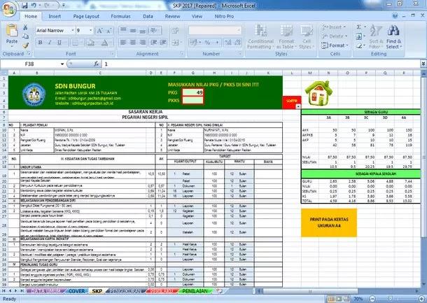 Aplikasi SKP Guru PNS Terbaru Format Microsoft Excel