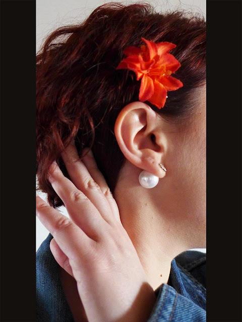 boucles d'oreilles avec perle à l'arrière