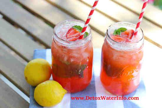 strawberry lemon mint detox water for fat loss