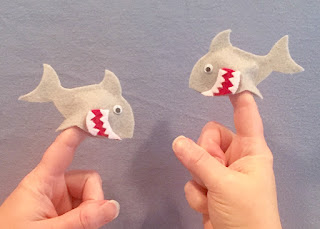 Two Little White Sharks finger puppets and fingerplay