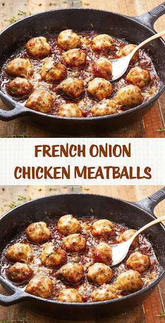 French Onion Chicken Meatballs