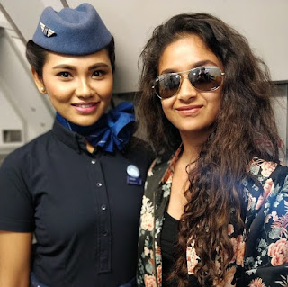 Keerthy Suresh in Black Dress with Cute Smile with Air Hostess Latest Selfie 1