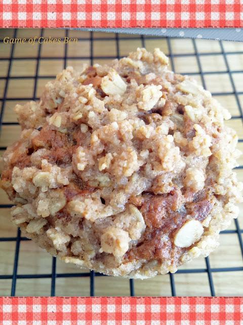 Muffins de plátano y avena con streusel de avena