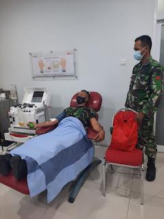 Ketua PMI dan Sembilan TNI Donor Plasma Konvalesen