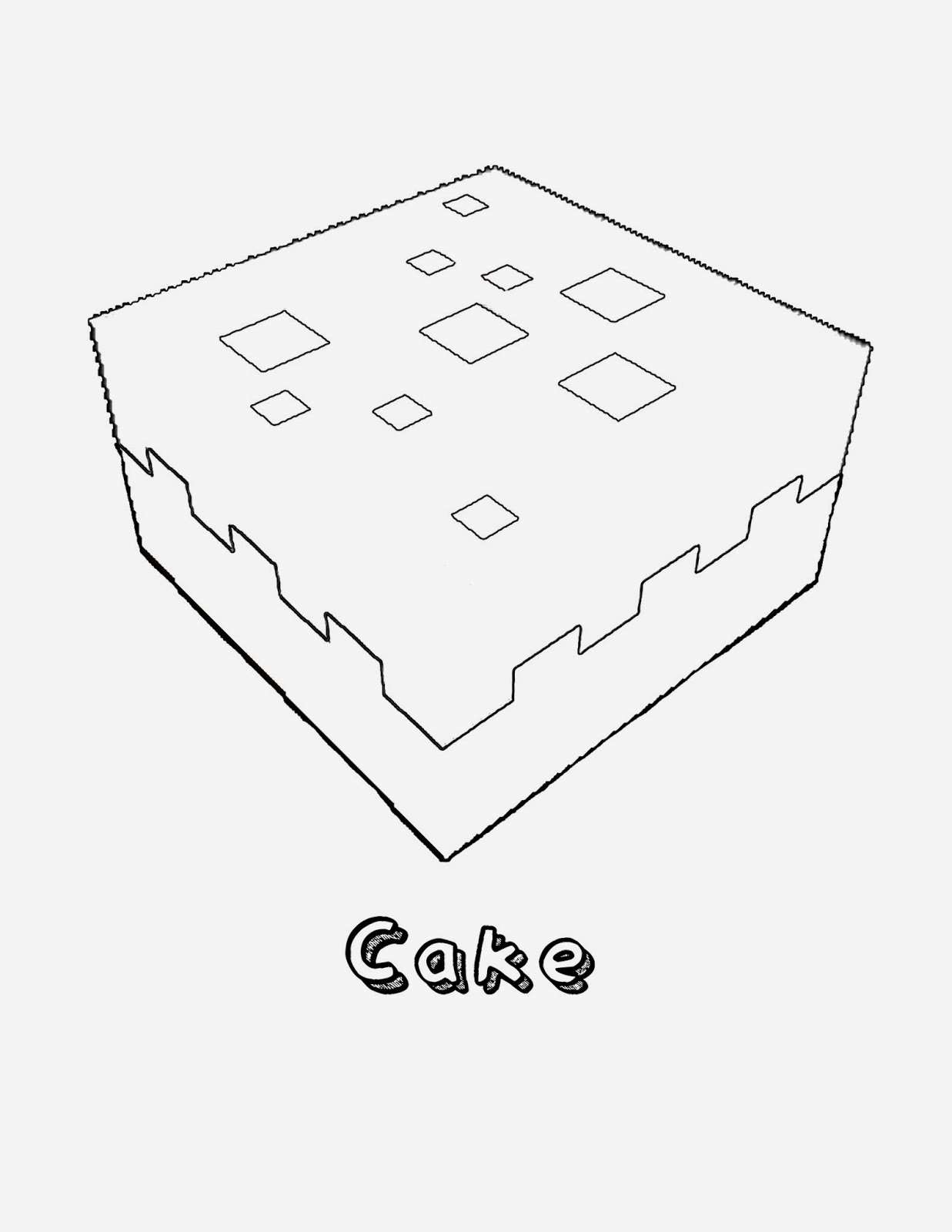minecraft coloring pages cake - photo#3