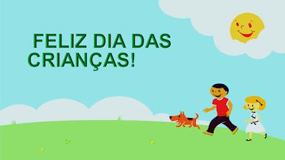 A imagem diz feliz dia das crianças!  Nessa bela imagem está escrito: Feliz dia das crianças! Nessa imagem mostra duas crianças no parque num lindo dia de sol radiante. O sol aprece numa nuvem rindo para elas que estão passeando com seu cãozinho de estimação. Elas estão felizes nesse dia mundial das crianças.