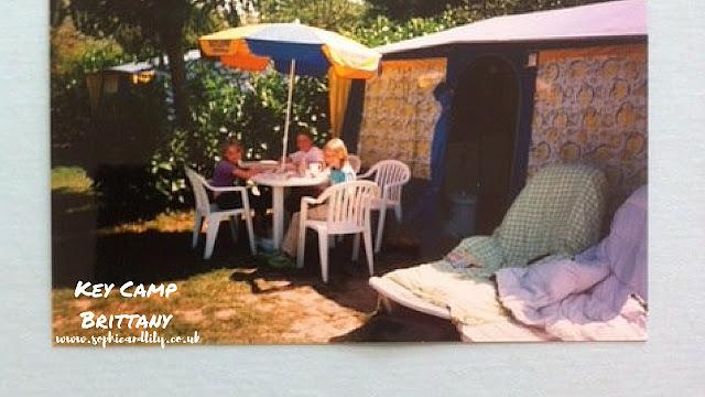 non-digital printed photograph of family camping holiday at Key Camp Brittany