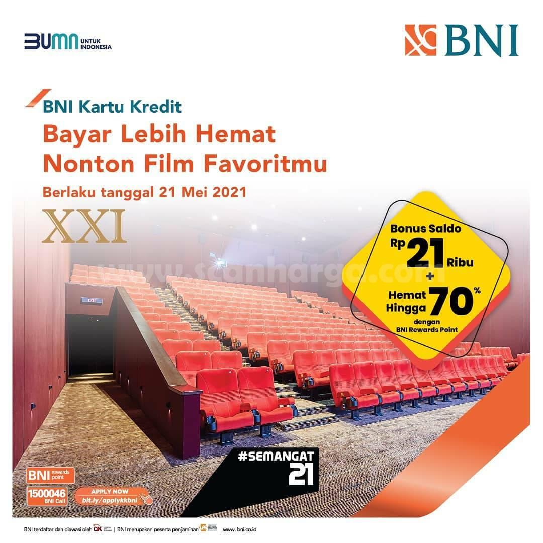 Promo Cinema 21 Bonus Saldo 21 Ribu + Hemat hingga 70% dengan BNI