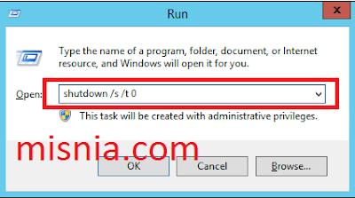 shutdown via run command