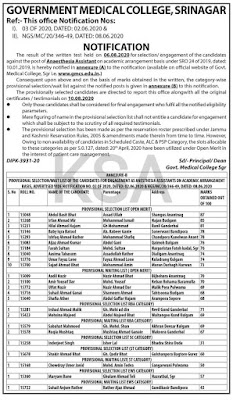 Tags :- GMC Srinagar Selection List of Anaesthesia Assistant Posts , GMC Srinagar Selection List, gmc srinagar selection list 2020