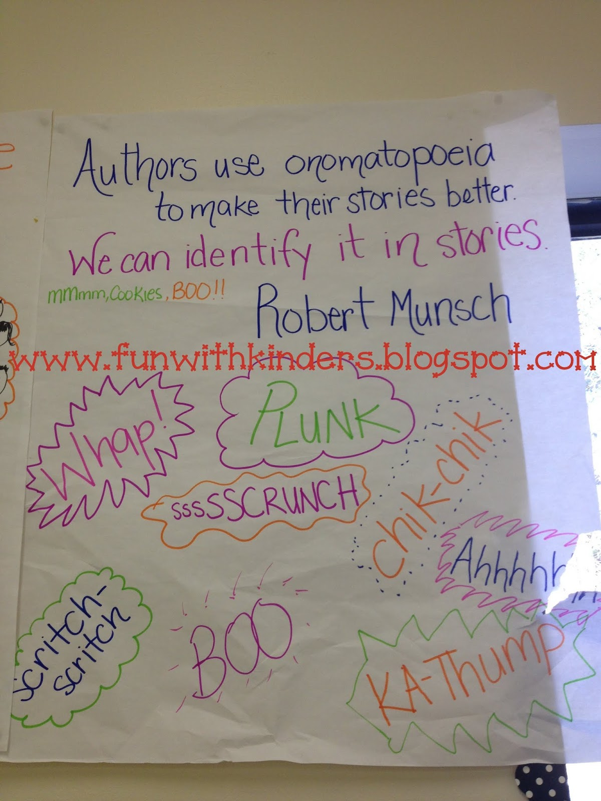 Fun With Kinders Onomatopoeia Robert Munsch Author Study