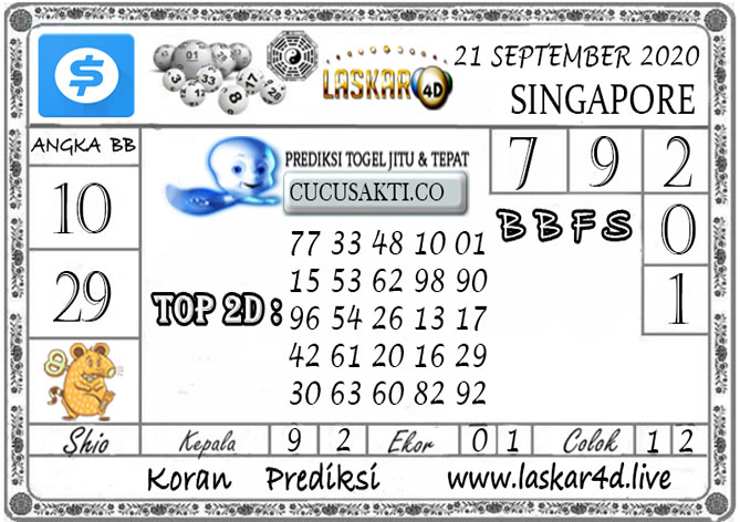 Prediksi Togel SINGAPORE LASKAR4D 21 SEPTEMBER 2020