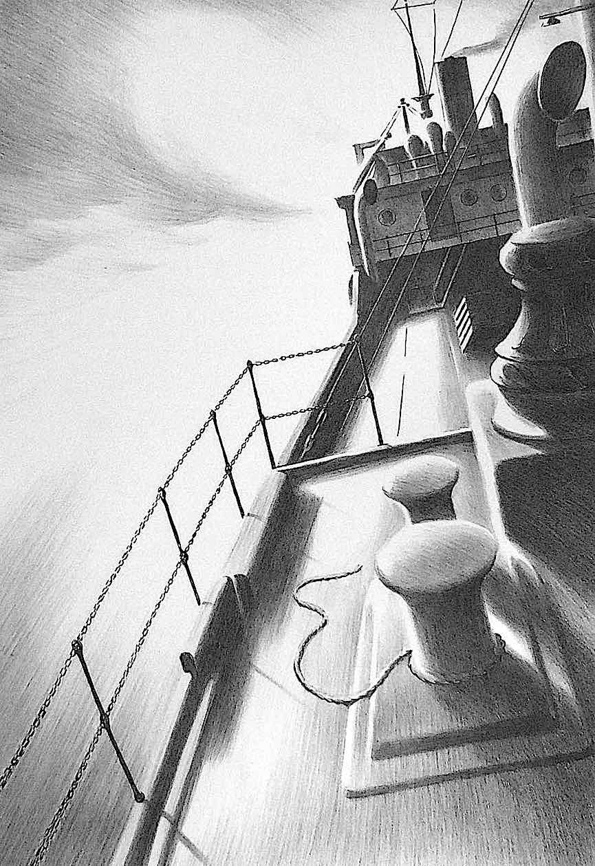 Ellison Hoover art, a tossing ship deck in 1940