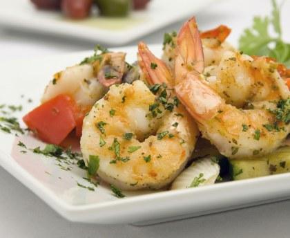 Sautéed prawns with garlic