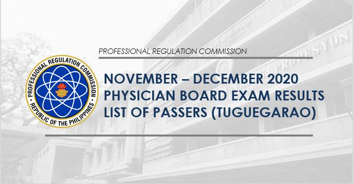 PLE LIST OF PASSERS: Tuguegarao November - December 2020