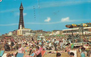 Colourmaster International postcard showing Central Beach and Tower, Blackpool. PT18795 by Photo Precision Limited, St Ives, Huntingdon