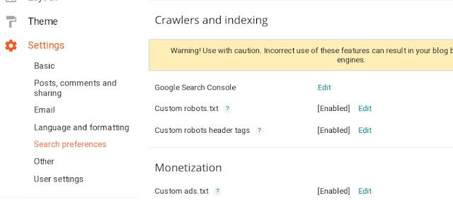 setting robot txt pada blogspot