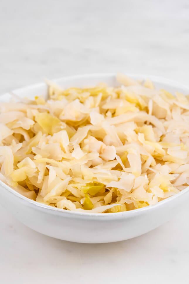 Close up shot of a bowl of sauerkraut