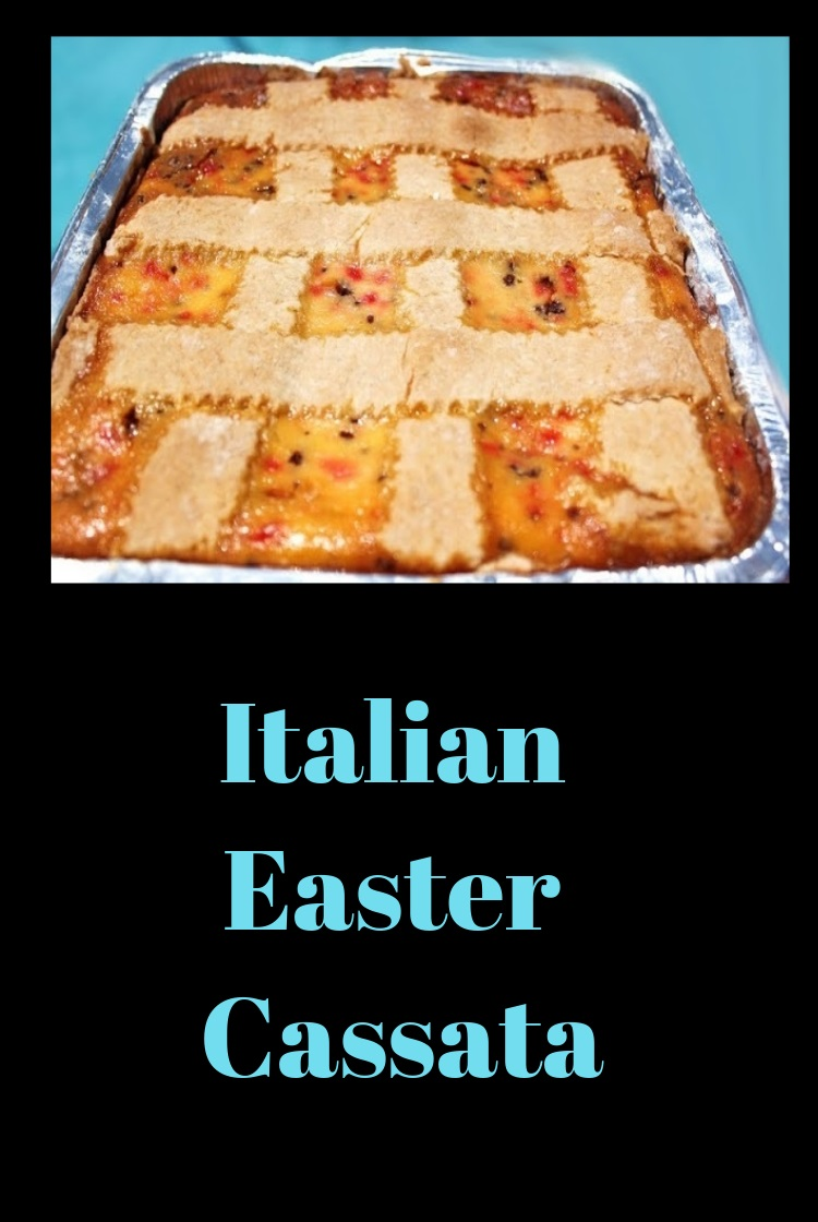 This is an Italian cheesecake made with cherries, shaved chocolate, ricotta cheese in a pastry crust made at Easter