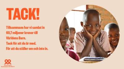 Bild på ett leende barn och tacktext från Radiohjälpen.