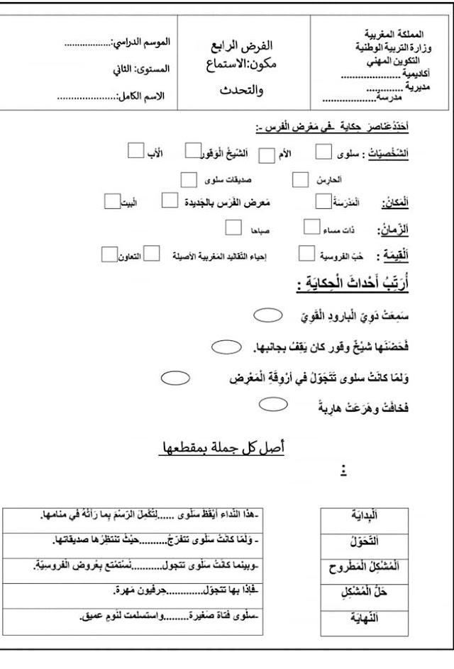 نموذج آخر لفروض المستوى الثاني في مادة اللغة العربية الاستماع و التحدث المرحلة الرابعة