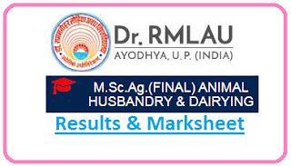 RMLAU Ayodhya M.Sc Agri Final AHD Result 2021
