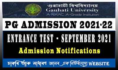 Gauhati University  PG Admission 2021-22 Session
