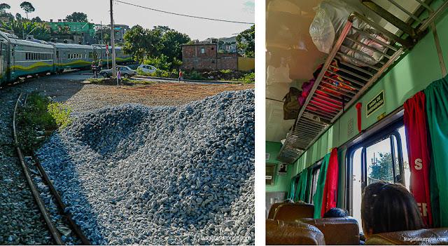 Vagão da classe econômica do trem da Vale para Barão de Cocais e a paisagem durante o percurso