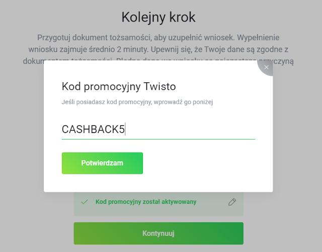 Kod promocyjny uprawniający do uzyskania moneybacku 5% za płatności Twisto w sklepach spożywczych