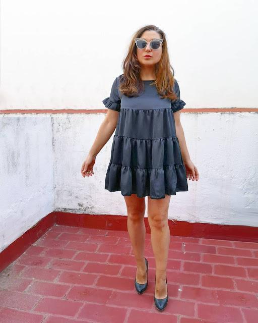 black-satin-babydoll-mini-dress
