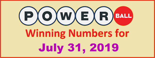 PowerBall Winning Numbers for Wednesday, July 31, 2019
