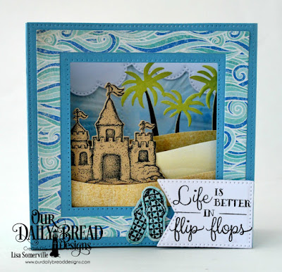 Stamp Set: Sending You Sunshine, Flip Flop Fun, Life is Better  Custom Dies: Sandcastle, Curvy Slopes, Squares, Diorama with Layers, Flip Flops, Large Banner Flags, Bethlehem, Sunburst Background, Cloud Borders  Paper Collection: By the Shore