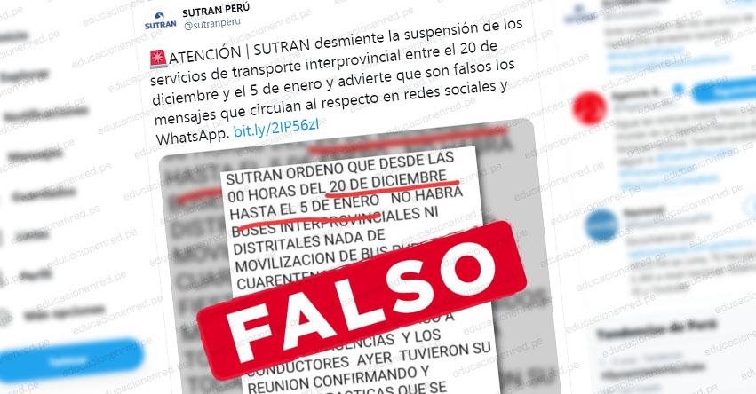 SUTRAN advierte de falso mensaje a través de WhatsApp sobre suspensión de transporte interprovincial