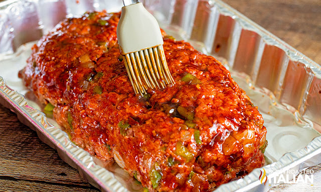 smoked meatloaf brushed with barbecue sauce