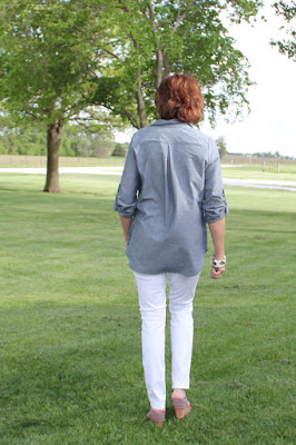 Itch to Stitch Mila Shirt from Indiesew made in Style Maker Fabrics chambray- back view
