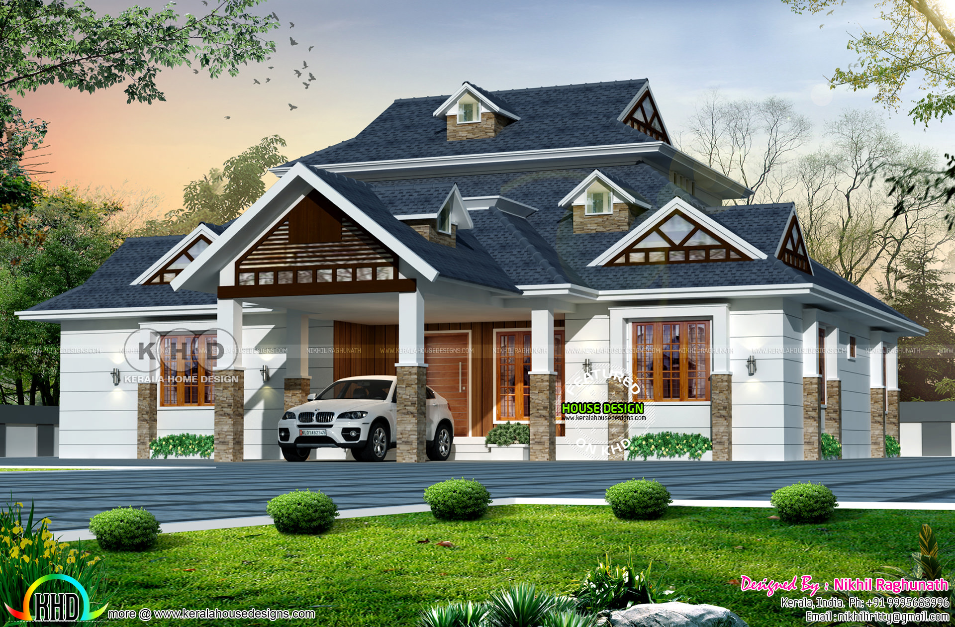Sloping roof dormer window home kerala home design and for Slanted roof house plans