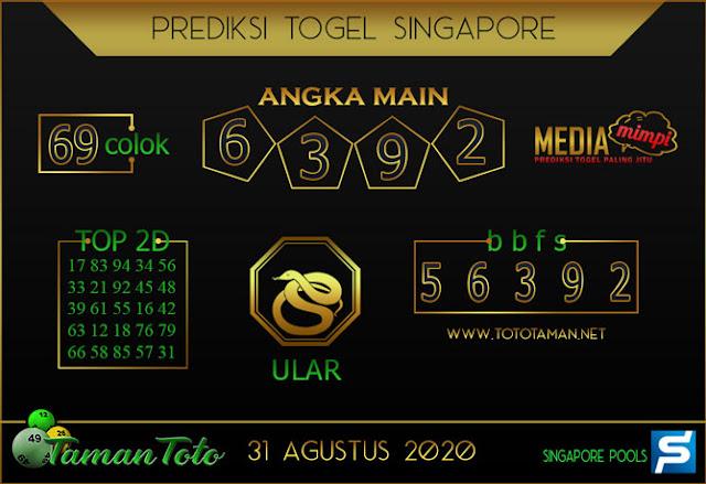 Prediksi Togel SINGAPORE TAMAN TOTO 31 AGUSTUS 2020