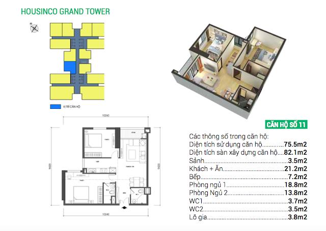 Thiết kế căn hộ số 11 Housinco Grand Tower